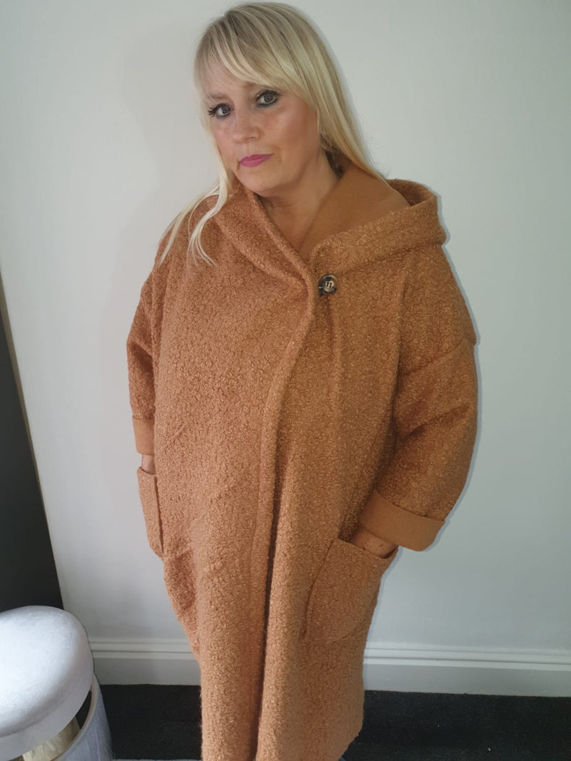 Asymmetric Teddy Bear Coat in Camel