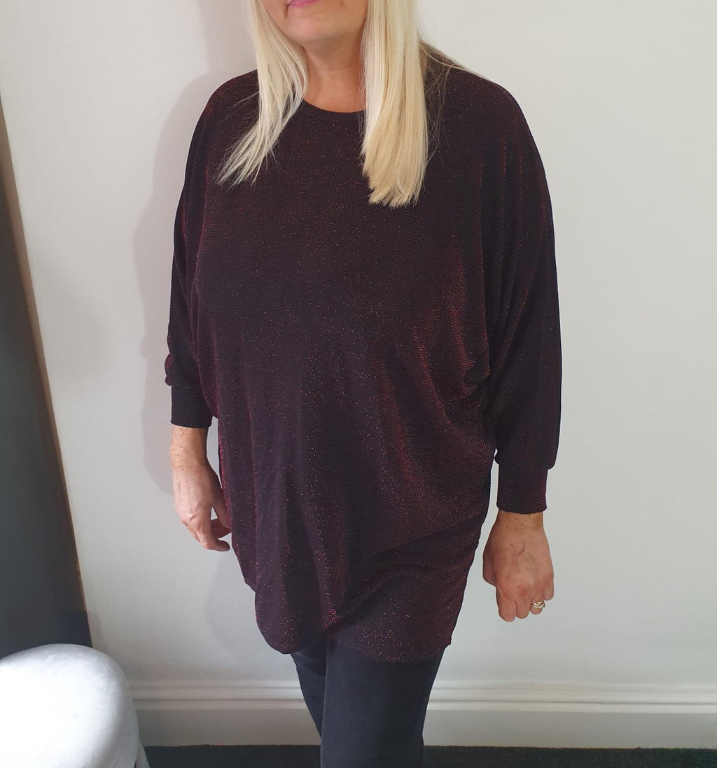 Red Shimmer Batwing Top