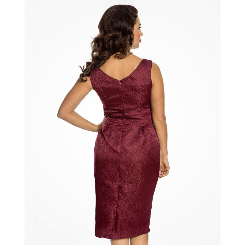 Burgundy Pencil Dress and Jacket Twin Set - Marguerite