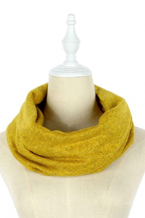 Sliver Speckled Plain Snood -  Mustard