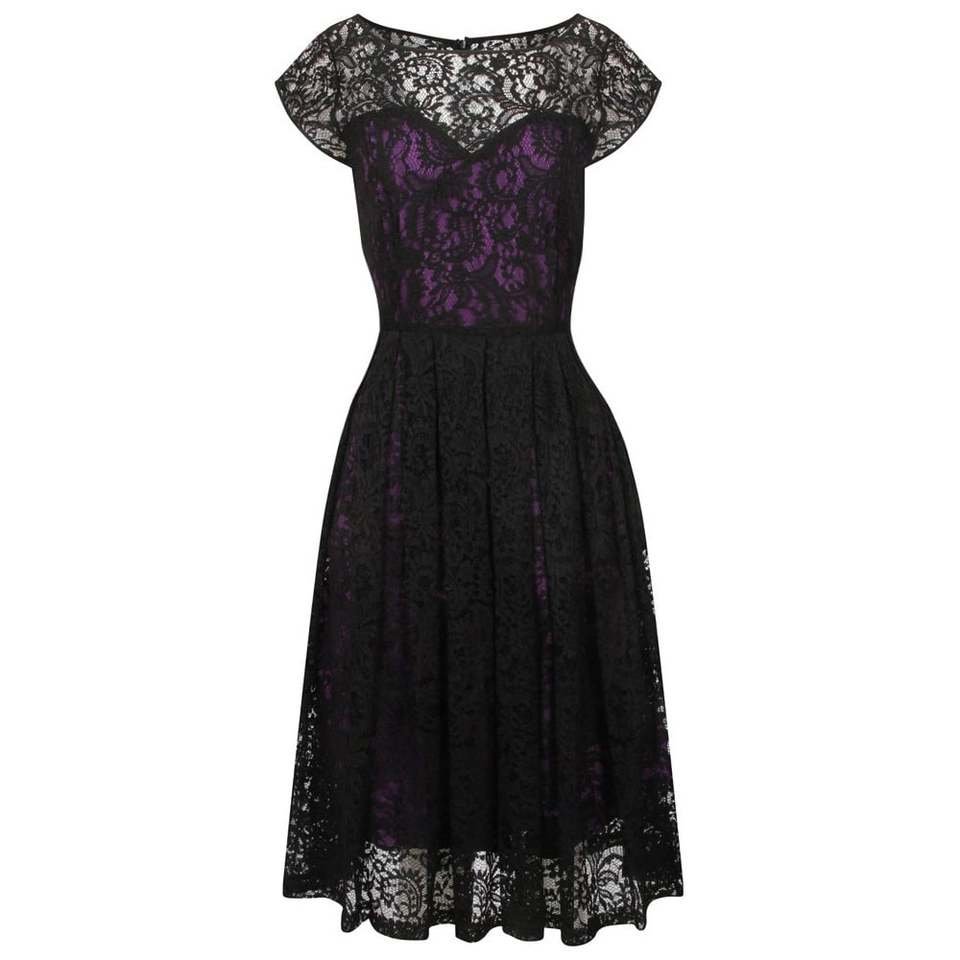'Blair' Purple and Black Lace Evening Dress