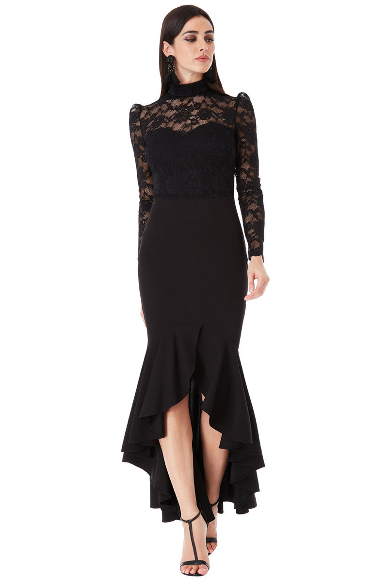 Black Long Sleeved Fishtail Maxi Dress
