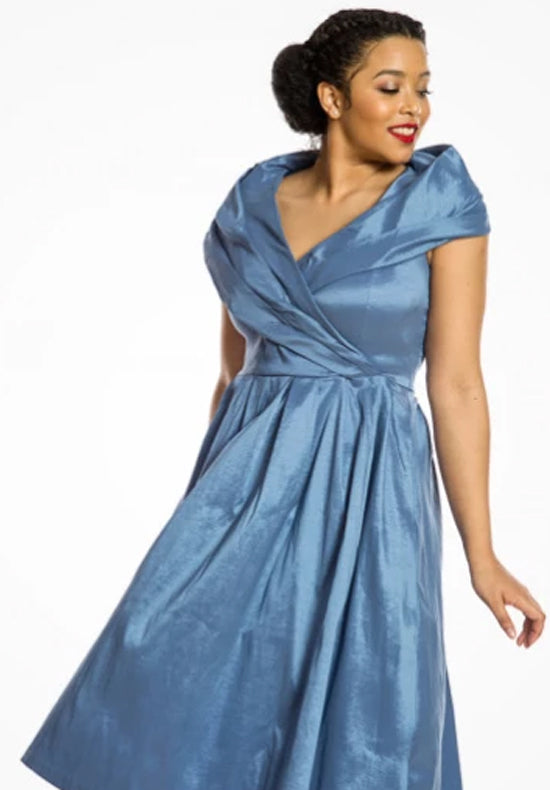 'Amber' Pearl Blue Occasion Swing Dress