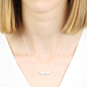 Angel Wings Pendant Necklace in Silver