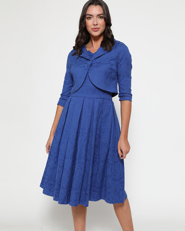 'Autumn' Cobalt Blue Swing Dress and Jacket Twin Set