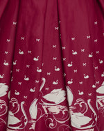 'Lily' Plum Swan Border Print Swing Dress