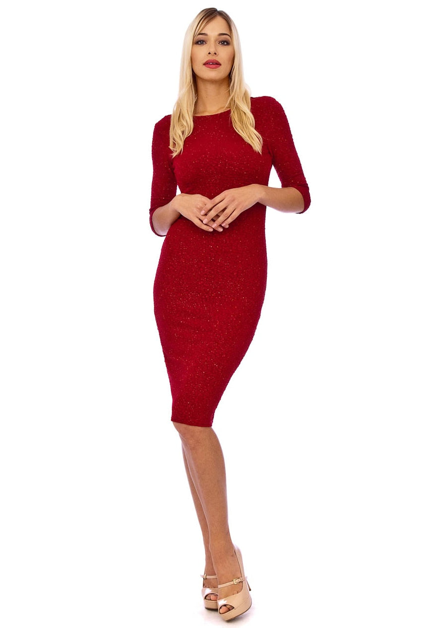 Red Textured Glitter Midi Dress