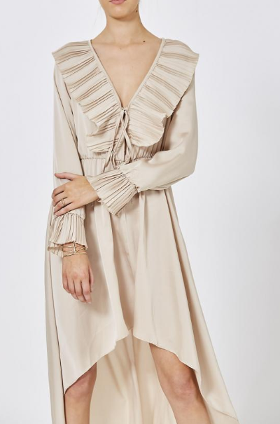 Beige Pleated Dipped Hem Dress