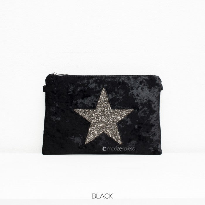 Velour Style Star Clutch bag in Black