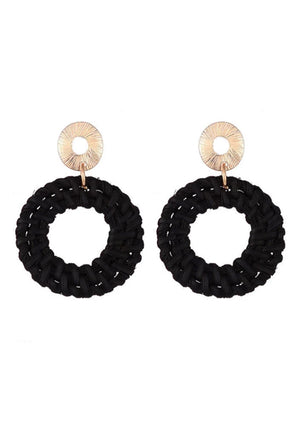 Black Straw Earrings