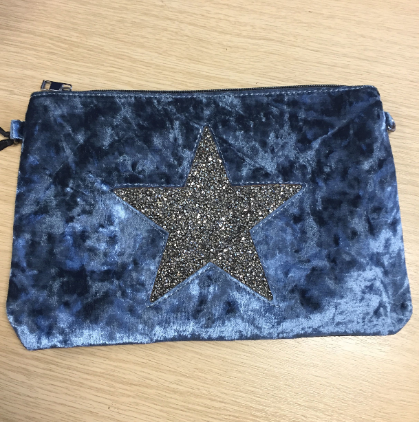 Velour Style Star Clutch bag in Blue