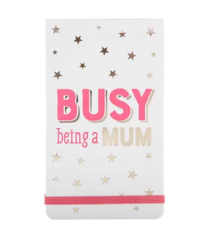 Busy Being a Mum Star Print Pocket Notepad