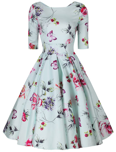 Liana Pastel Mint Roses Flare Dress