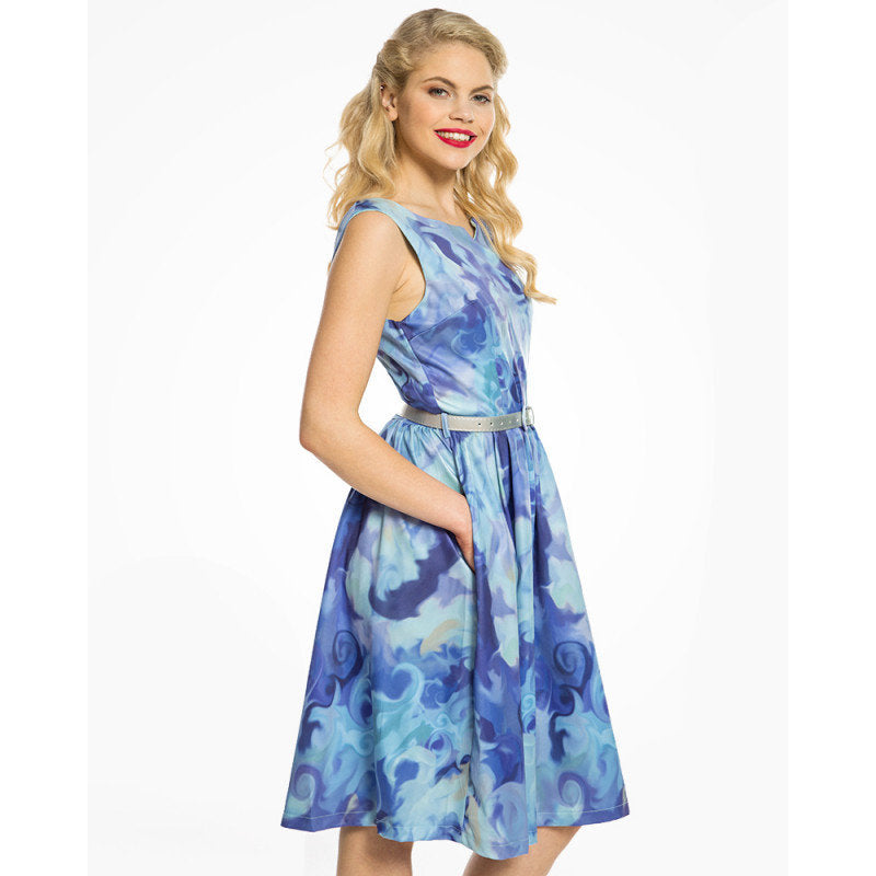 Blue Ripples Print Swing Dress - Delta