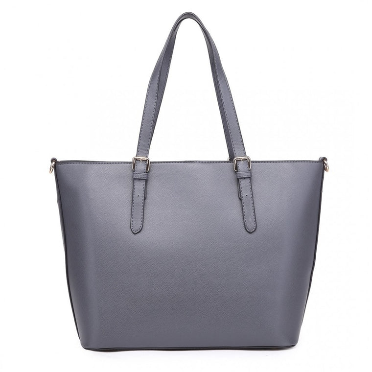 Faux Leather Adjustable Handle Tote Bag Grey
