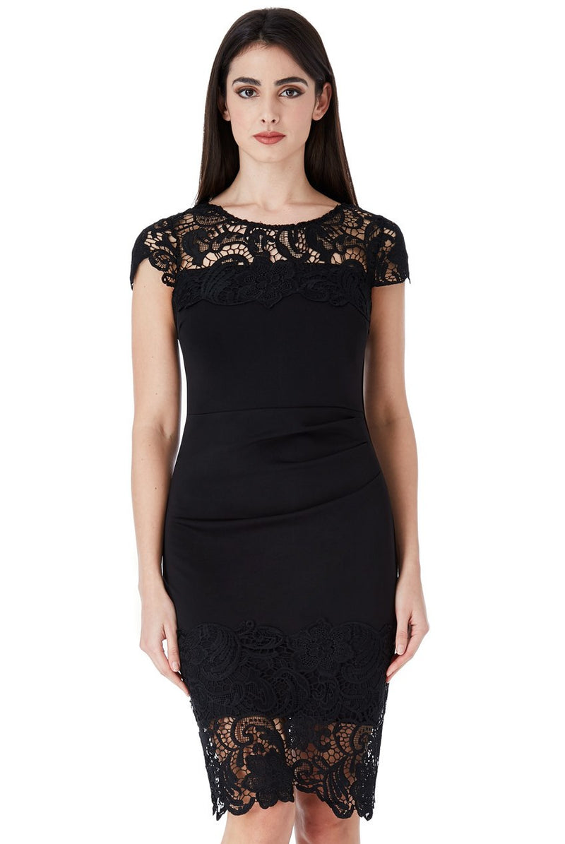Black Pleated Midi Dress With Lace Detail
