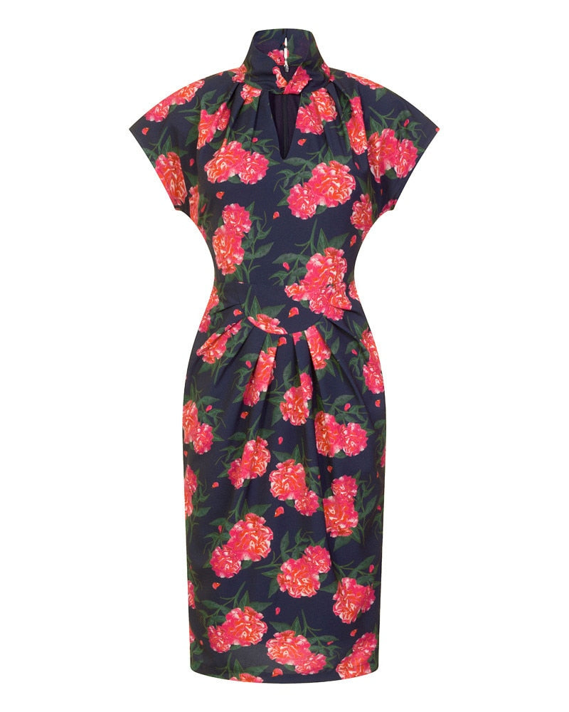 Pink Camellia Print Dress
