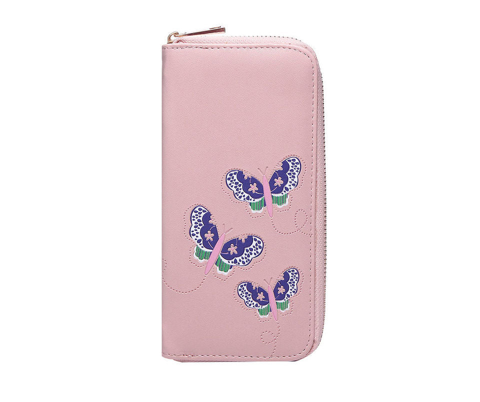 Pink Butterfly Embossed Purse