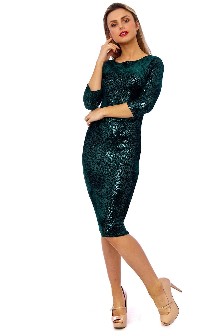 Emerald Velour Sequin High Neck Midi Dress
