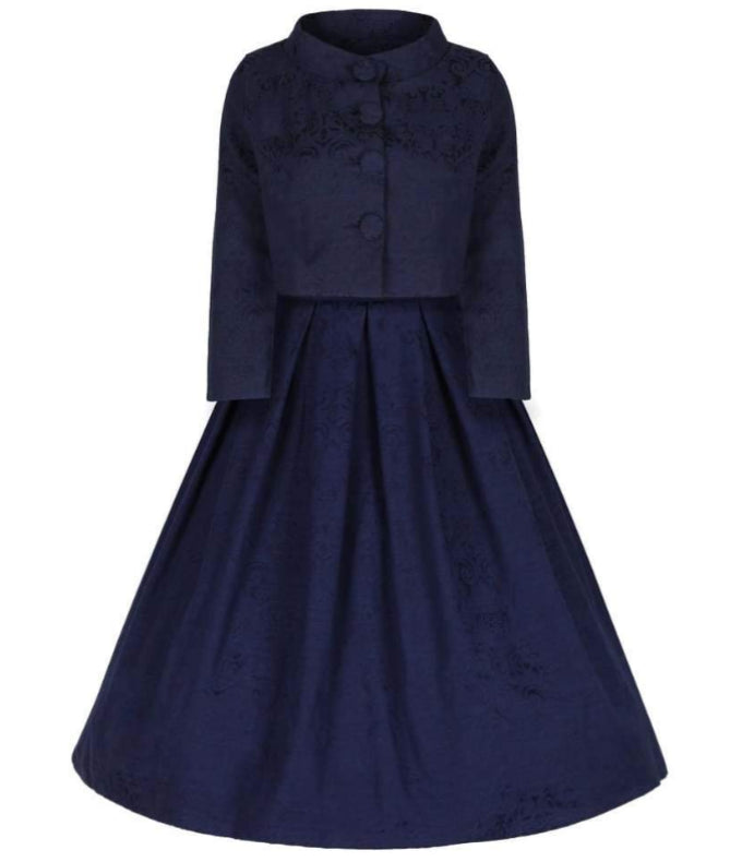 306885ce86d  Marianne  Navy Swing Dress and Jacket Twin Set.