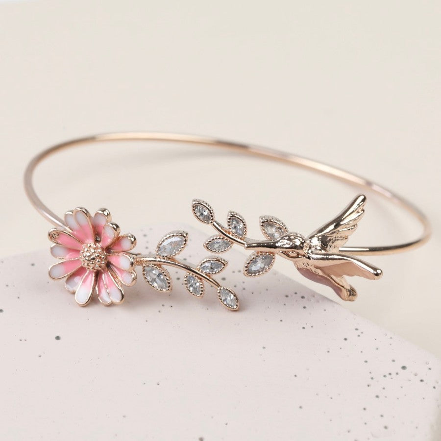 Rose Gold Hummingbird and Flower Leaf Bangle