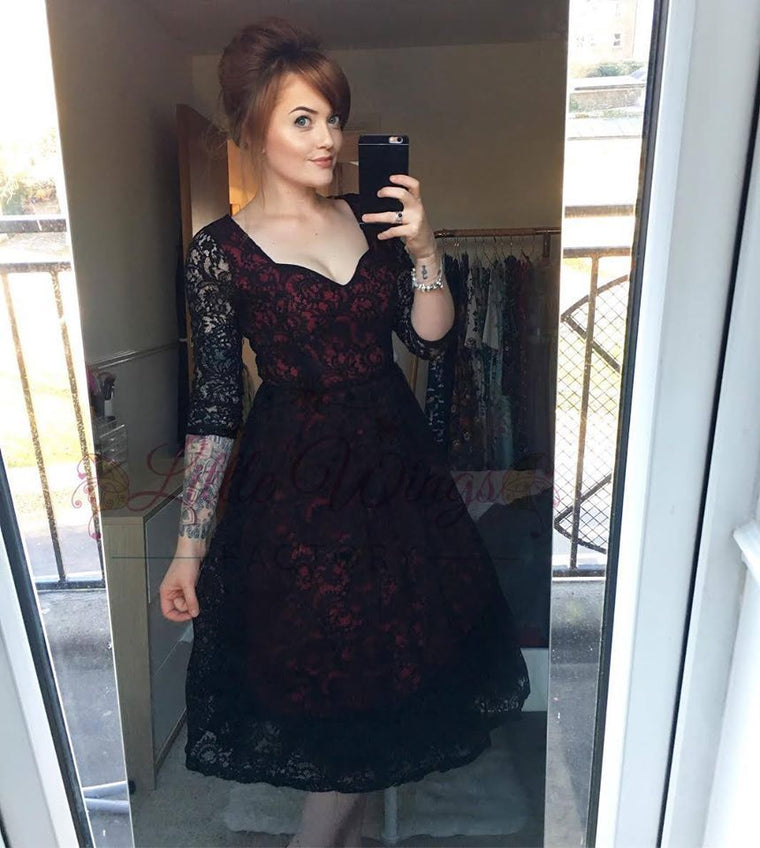 'Lucinda' Red and Black Lace Dress