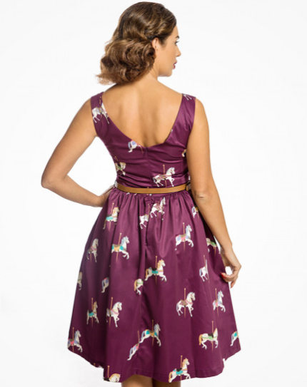 'Delta' Purple Carousel Horses Print Swing Dress