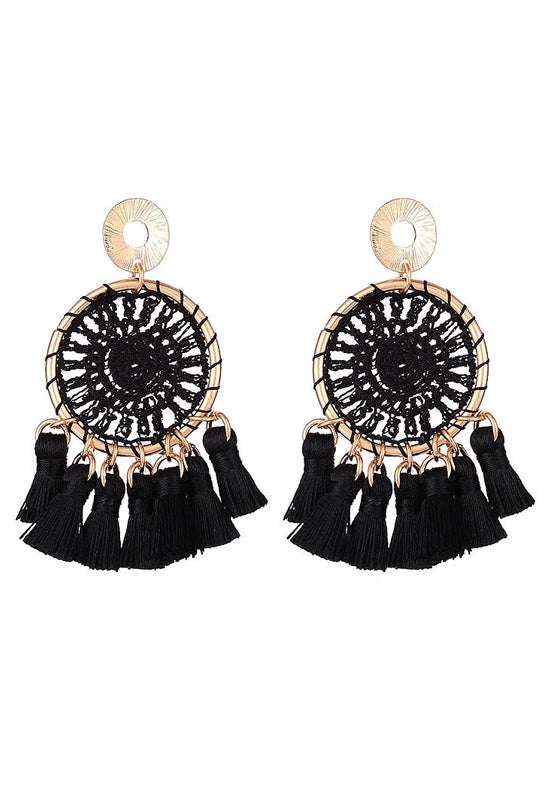 Black Dreamcatcher Earrings