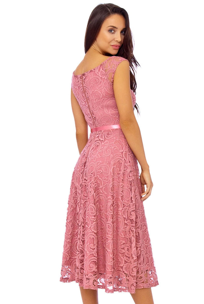 'Evelyn' Antique Rose Lace Dress
