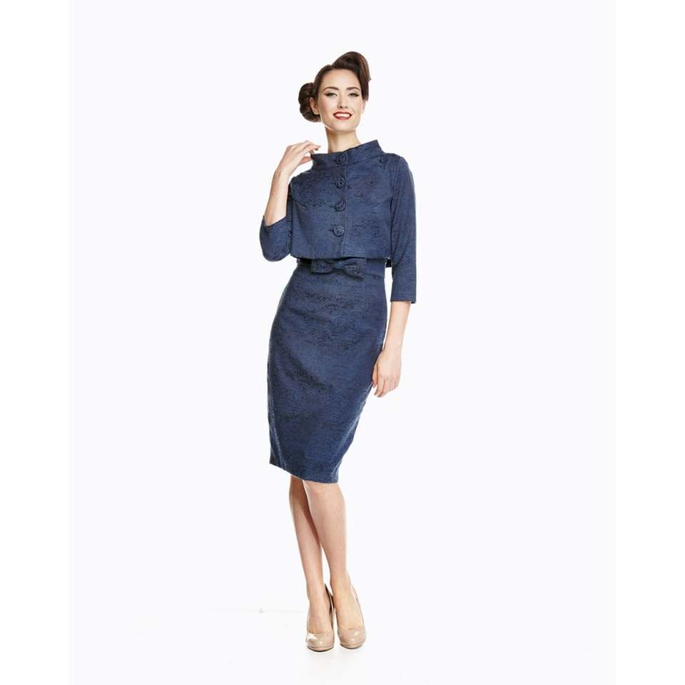 'Maybelle' Navy Jacquard Twin Set