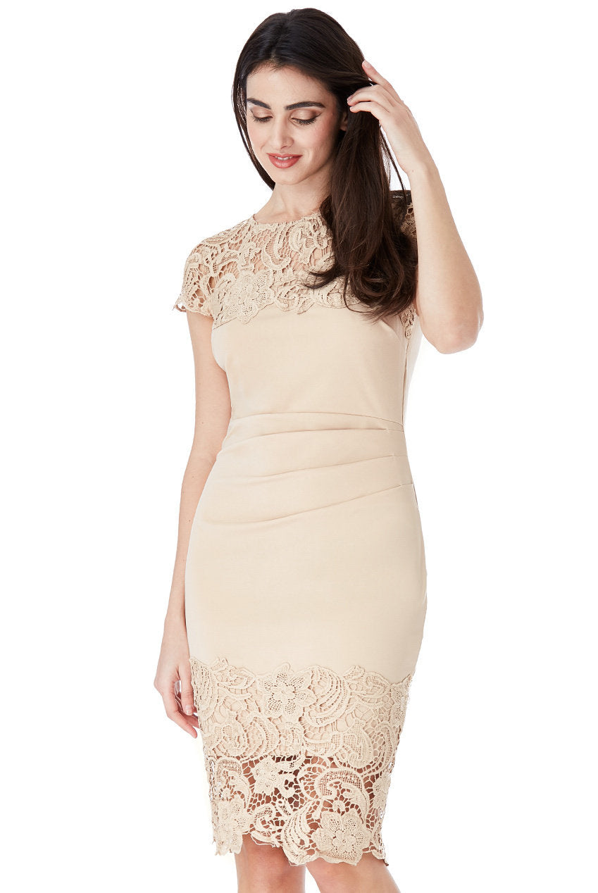 Nude Pleated Midi Dress With Lace Detail