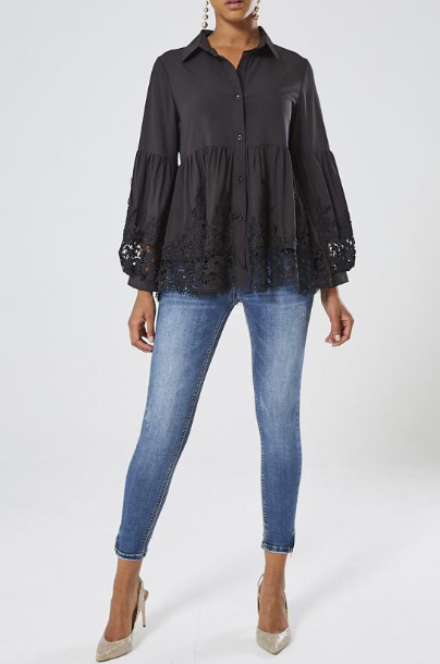 Black Lace Trim Blouse