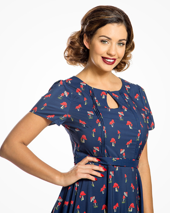 'Bretta' Navy Toadstool Tea Dress
