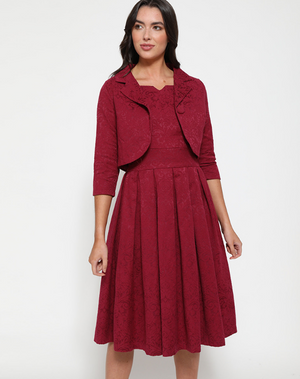 'Autumn' Cerise Swing Dress and Jacket Twin Set