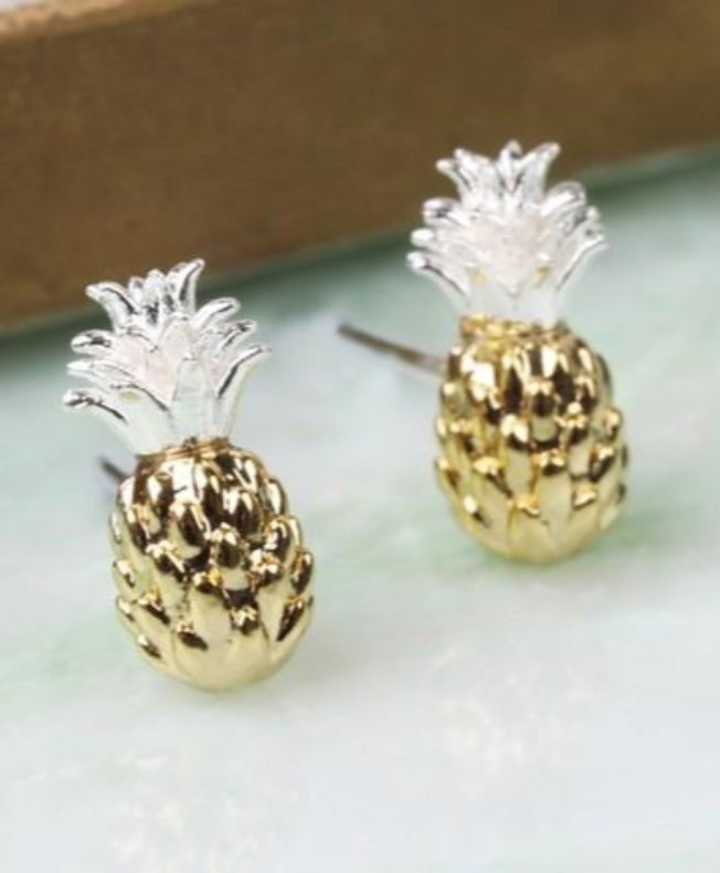 Gold and Silver Dipped Pineapple Stud Earrings