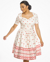 'Maisey' Heart Border Print Swing Dress