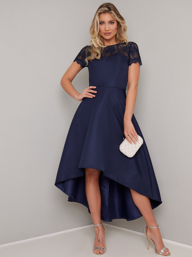 Jasper Navy Dip Hem Dress