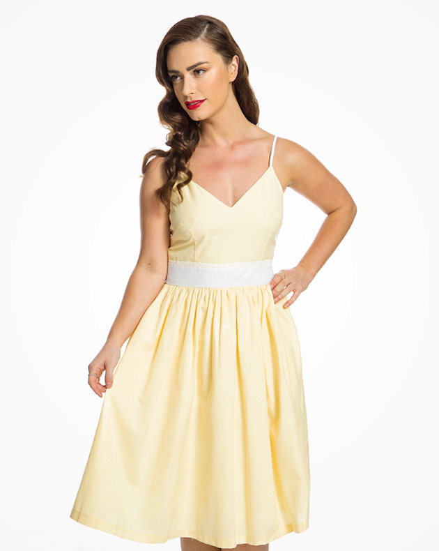 'Honor'Lemon Yellow Chambray Summer Swing Dress