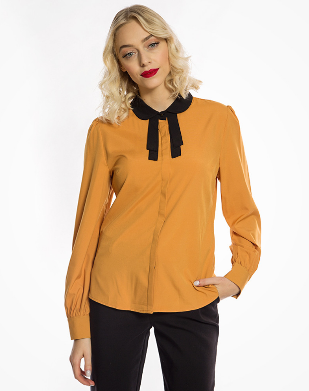'Mima' Vintage 1940s Inspired Mustard Tie Neck Blouse