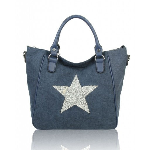 Navy Star Print Canvas Shoulder Bag Handbag