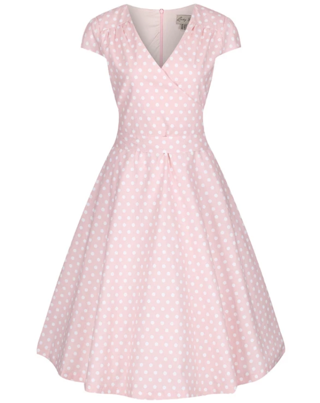 Dawn Rose Pink Polka Dot Print Swing Dress