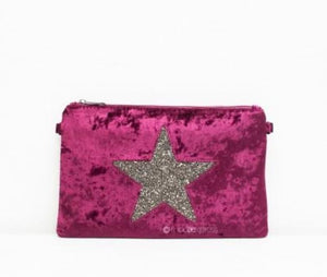 Velour Style Star Clutch bag in Wine