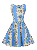 Vintage Yellow and Blue Floral Tea Dress