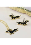 Dachshund Necklace and Earrings Set