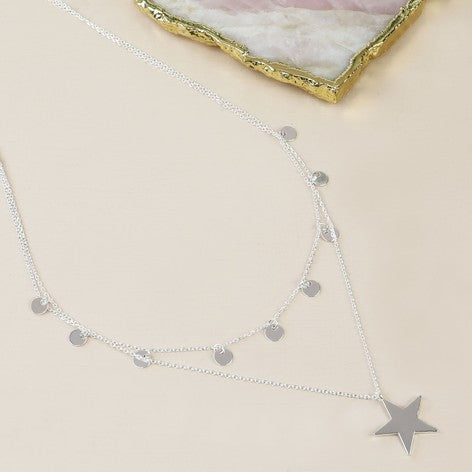 Silver Double Layer Star Necklace