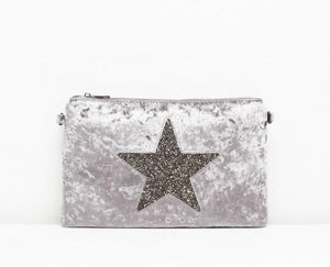 Velour Style Star Clutch bag in Silver