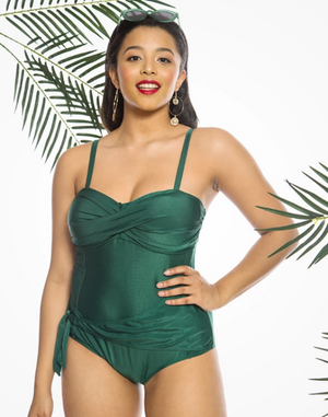 'Solange' Wrap Front One Piece Swimsuit in Emerald Green