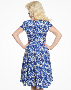 Magnolia Blue Watercolour Floral Dress