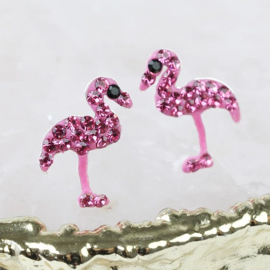 Pink Gem Flamingo Stud Earrings