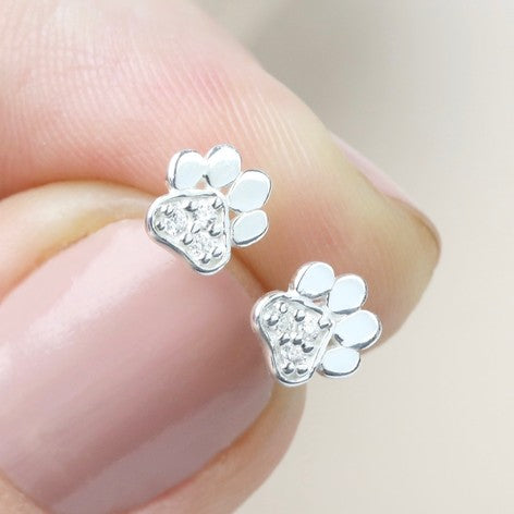Silver Crystal Paw Print Earrings